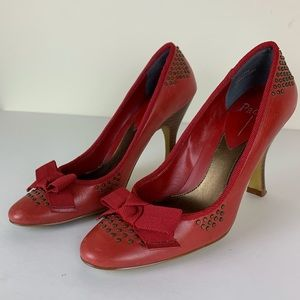 Paolo Red Studded Women's Heels w/Bow 5M EUC